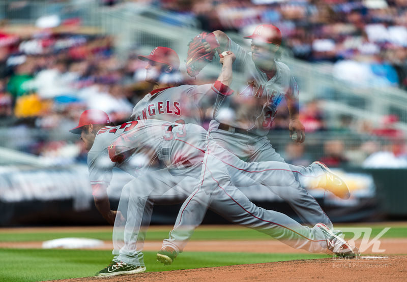 This is a single photo frame comprised of 3 exposures compiled in-camera.  Los Angeles Angels starting pitcher CJ Wilson pitches against the Minnesota Twins at Target Field in Minneapolis, Minnesota on April 9, 2012.  The Angels defeated the Twins 5 to 1.