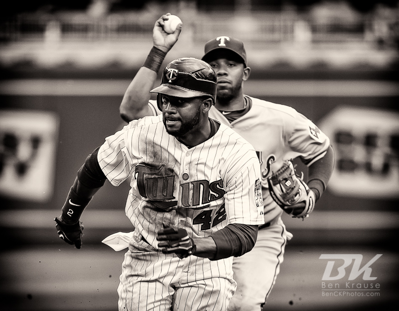 Minnesota Twins center fielder Denard Span is caught in a run-down against the Texas Rangers on Jackie Robinson Day at Target Field in Minneapolis, Minnesota on April 15, 2012.  The Rangers defeated the Twins 4 to 3.  Photo: © Ben Krause 2012