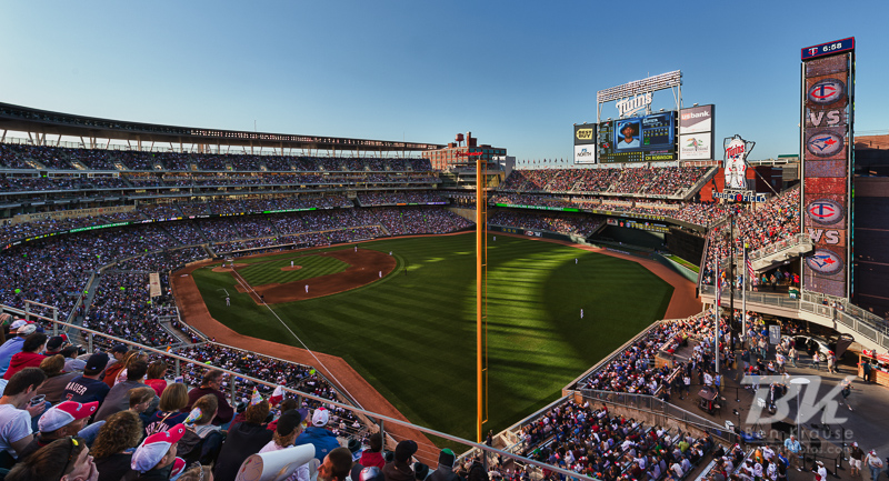 A wide angle view of Target Field as the Minnesota Twins play the Toronto Blue Jays on May 12, 2012 at Target Field in Minneapolis, Minnesota.  This photo was created by merging 5 exposures using HDR software. Photo: © Ben Krause 2012
