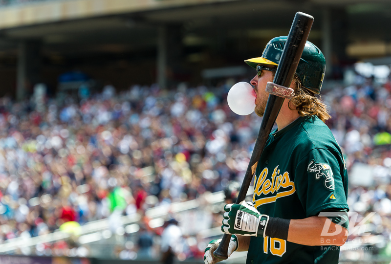 Oakland Athletics right fielder Josh Reddick waits in the on-deck circle during a game against the Minnesota Twins on May 28, 2012 at Target Field in Minneapolis, Minnesota.  The Twins defeated the Athletics 5 to 4.  Photo: © Ben Krause 2012