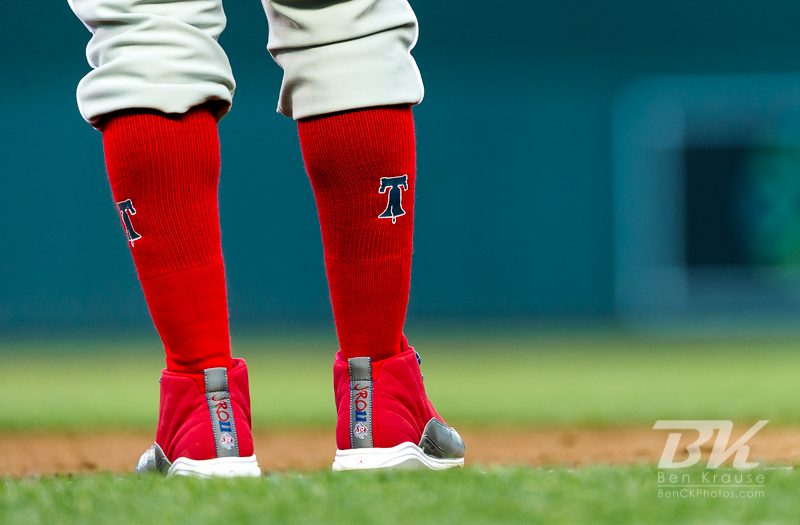 A close-up view of the socks of Philadelphia Phillies shortstop Jimmy Rollings during a game against the Minnesota Twins on June 12, 2012 at Target Field in Minneapolis, Minnesota.  The Twins defeated the Phillies 11 to 7.  Photo: © Ben Krause 2012