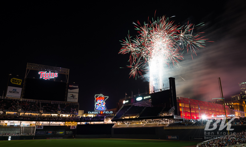 A fireworks display was put on after the game between the Minnesota Twins and Cleveland Indians at Target Field in Minneapolis, Minnesota on July 27, 2012.  Photo: © Ben Krause 2012