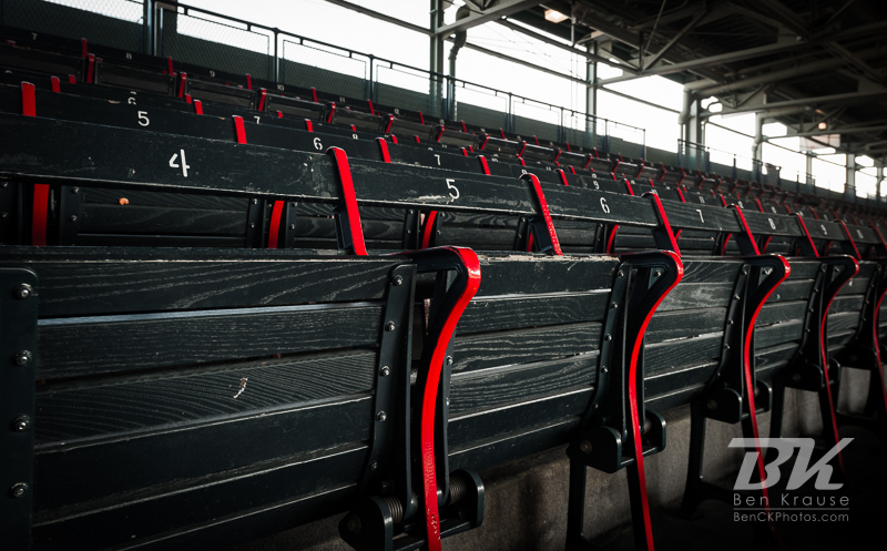 Old wooden seats in Fenway Park.  These are the oldest seats in Major League Baseball.  Photo: © Ben Krause 2012