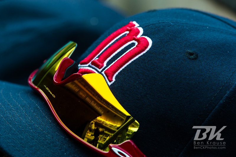 A close up view of a Minnesota Twins hat during a game against the Chicago White Sox on September 16, 2012 at Target Field in Minneapolis, Minnesota.  The White Sox defeated the Twins 9 to 2.  Photo: Ben Krause