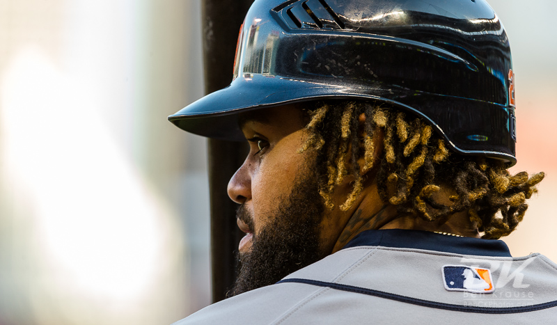 Prince Fielder #28 of the Detroit Tigers waits on-deck during a game against the Minnesota Twins on September 29, 2012 at Target Field in Minneapolis, Minnesota.  The Tigers defeated the Twins 6 to 4.  Photo: © Ben Krause 2012