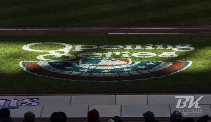 "The ""Opening Series"" logo on the field during Opening Day 2013 during a game between the Minnesota Twins and Detroit Tigers on April 1, 2013 at Target Field in Minneapolis, Minnesota.  The Tigers defeated the Twins 4 to 2.  Photo: Ben Krause"