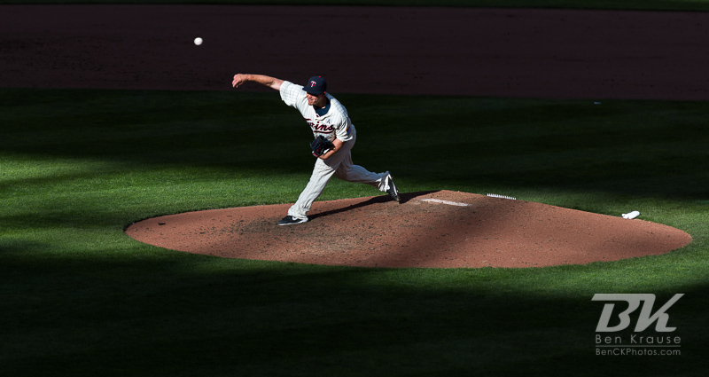 Vance Worley #49 of the Minnesota Twins pitches during a game against the Detroit Tigers on Opening Day 2013 on April 1, 2013 at Target Field in Minneapolis, Minnesota.  The Tigers defeated the Twins 4 to 2.  Photo: Ben Krause