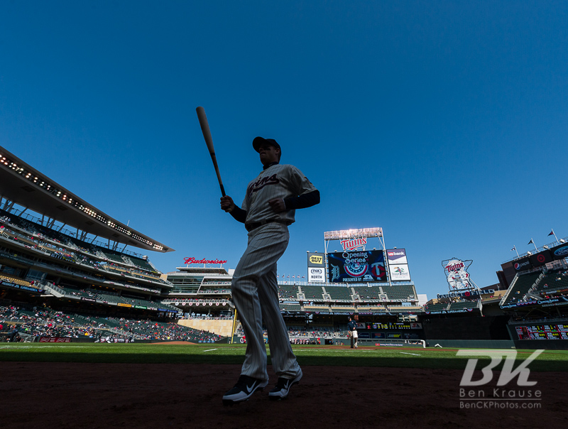 Justin Morneau #33 of the Minnesota Twins heads off the field before a game against the Detroit Tigers on April 3, 2013 at Target Field in Minneapolis, Minnesota.  The Twins defeated the Tigers 3 to 2.  Photo: Ben Krause