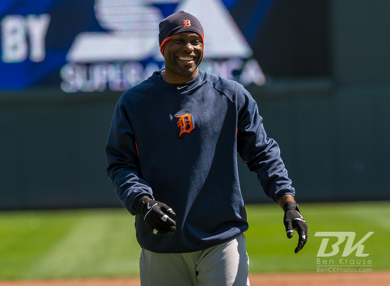 Torii Hunter #48 of the Detroit Tigers smiles during batting practice before a game against the Minnesota Twins on April 3, 2013 at Target Field in Minneapolis, Minnesota.  The Twins defeated the Tigers 3 to 2.  Photo: Ben Krause
