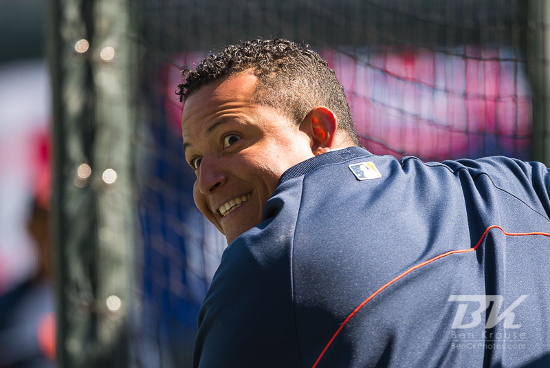 Miguel Cabrera #24 of the Detroit Tigers smiles during batting practice before a game against the Minnesota Twins on April 3, 2013 at Target Field in Minneapolis, Minnesota.  The Twins defeated the Tigers 3 to 2.  Photo: Ben Krause