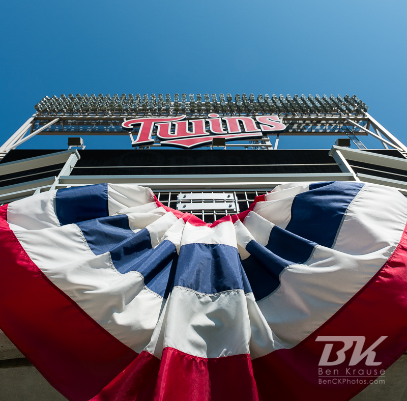 Bunting hangs at Target Field during the Opening Series between the Minnesota Twins and Detroit Tigers on April 3, 2013 in Minneapolis, Minnesota.  The Twins defeated the Tigers 3 to 2.  Photo: Ben Krause