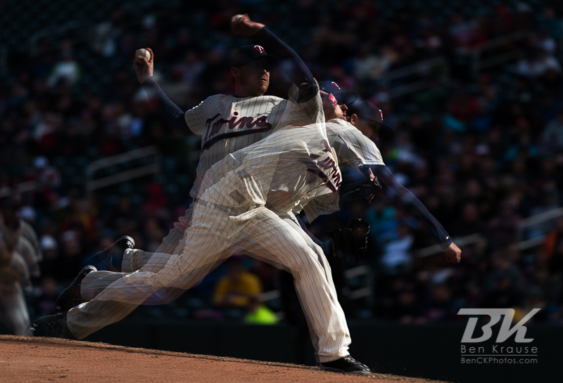 [Note:  This photo was created from 3 exposures merged in-camera.]  Kevin Correia #30 of the Minnesota Twins pitches during a game against the Detroit Tigers on April 3, 2013 at Target Field in Minneapolis, Minnesota.  The Twins defeated the Tigers 3 to 2.  Photo: Ben Krause