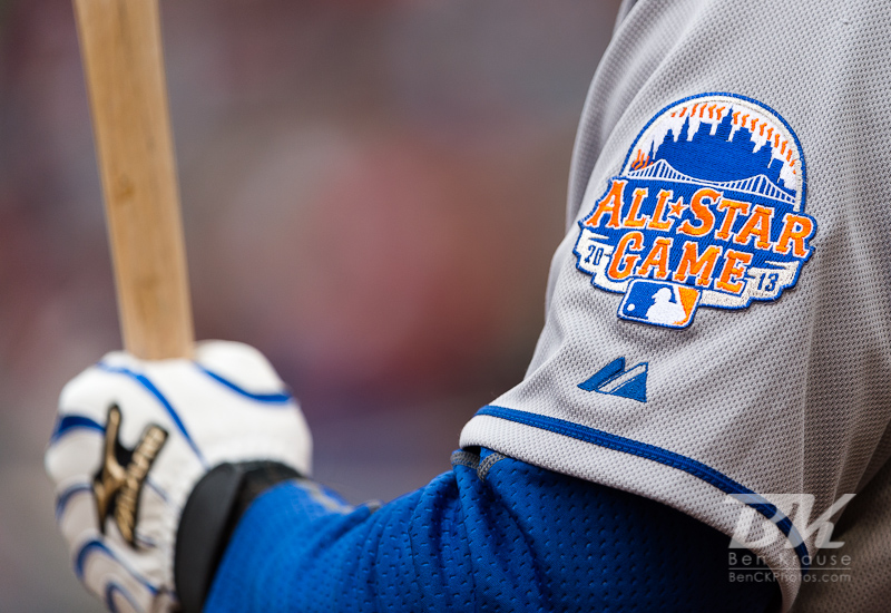 A close up view of the 2013 All Star Game logo on the sleeve of Mike Baxter #23 of the New York Mets during a game against the Minnesota Twins  on April 13, 2013 at Target Field in Minneapolis, Minnesota.  The Mets defeated the Twins 4 to 2.  Photo: Ben Krause