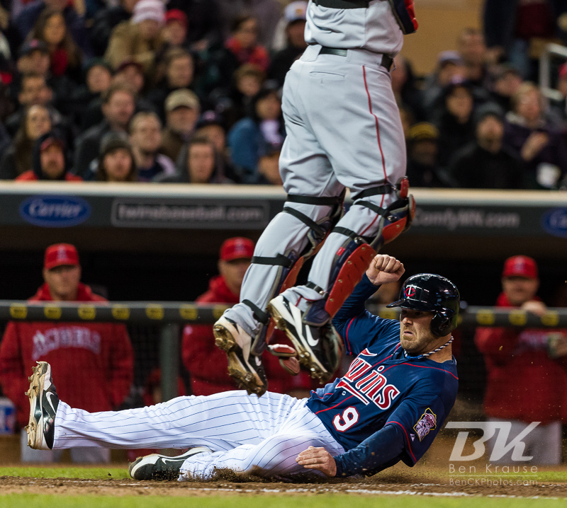 Ryan Doumit #9 of the Minnesota Twins scores during a game against the Los Angeles Angels on April 16, 2013 at Target Field in Minneapolis, Minnesota.  The Twins defeated the Angels 8 to 6.  Photo: Ben Krause