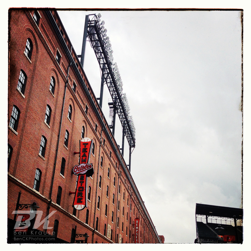 An Instagram of the warehouse outside Camden Yards in Baltimore, Maryland.  Photo by Ben Krause