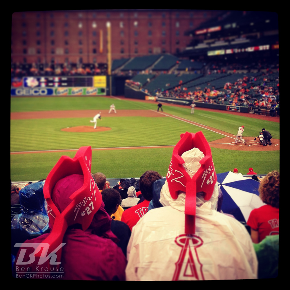 An Instagram of Mike Trout fans watching him bat at Camden Yards in Baltimore, Maryland.  Photo by Ben Krause