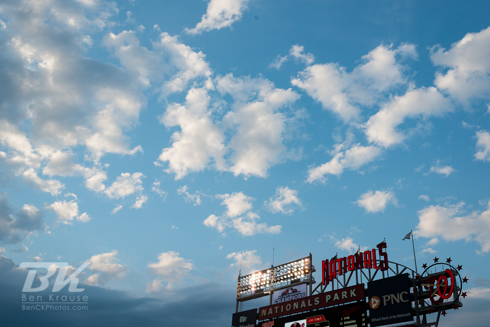 A view of the sky and scoreboard at Nationals Park during a game between the Minnesota Twins and Washington Nationals on June 9, 2013 in Washington DC, Maryland. Photo: Ben Krause