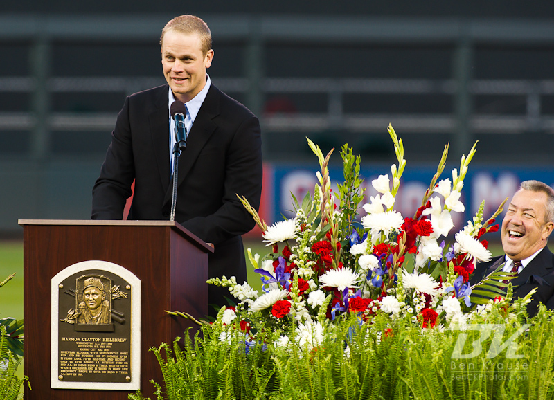 Minnesota Twins 1st baseman Justin Morneau speaks at the memorial service for Harmon Killebrew at Target Field on May 26, 2011 in Minneapolis, MN.