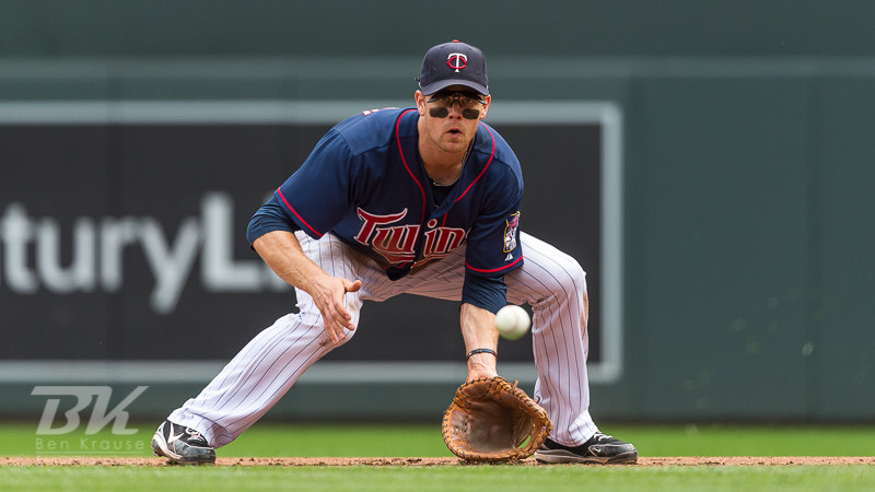 Justin Morneau #33 of the Minnesota Twins fields a ground ball against the Houston Astros on August 4, 2013 at Target Field in Minneapolis, Minnesota.  The Twins defeated the Astros 3 to 2.  Photo by Ben Krause
