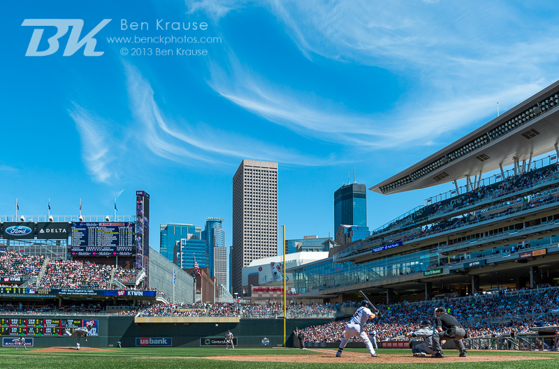 A general skyline view of as Josh Willingham #16 of the Minnesota Twins bats against the Seattle Mariners on June 2, 2013 at Target Field in Minneapolis, Minnesota.  The Twins defeated the Mariners 10 to 0.  Photo: Ben Krause