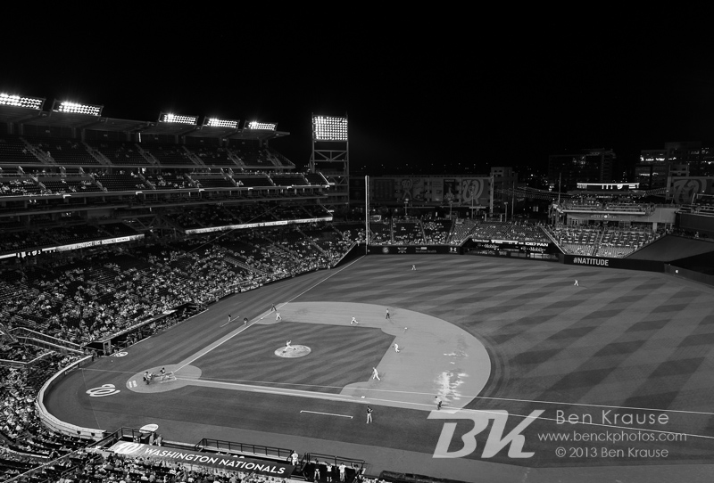 [Note:  This photo was converted to black and white during post-processing.]  A general view of Nationals Park during a game between the Minnesota Twins and Washington Nationals on June 9, 2013 in Washington DC, Maryland. Photo: Ben Krause