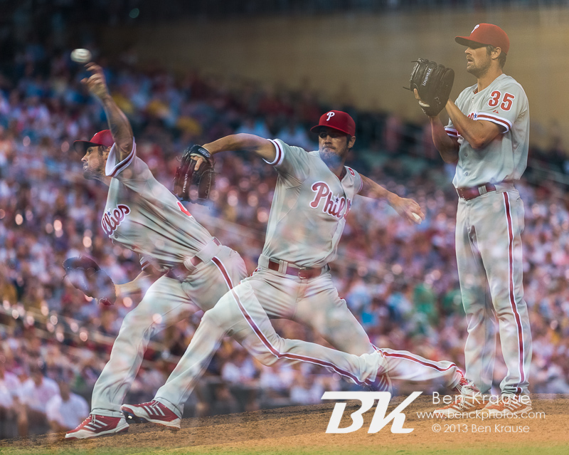 [Note: This photo was created by combining multiple exposures in-camera.] Cole Hamels #35 of the Philadelphia Phillies pitches against the Minnesota Twins on June 11, 2013 at Target Field in Minneapolis, Minnesota.  The Twins defeated the Phillies 3 to 2.  Photo: Ben Krause