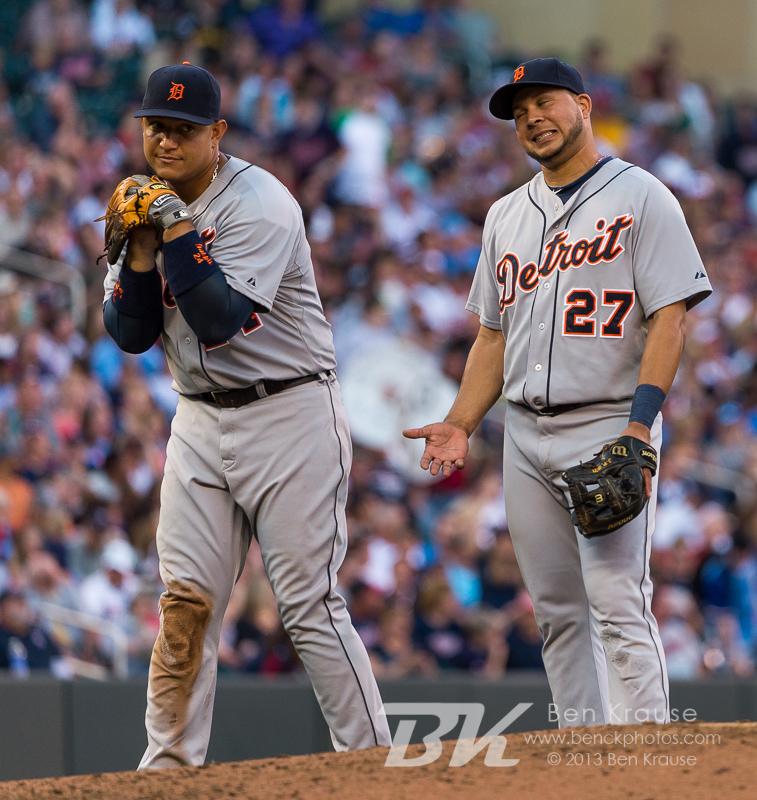 Miguel Cabrera #24 of the Detroit Tigers performs a mock pitch next to Jhonny Peralta #27 during a pitching change during a game against the Minnesota Twins on June 15, 2013 at Target Field in Minneapolis, Minnesota.  The Twins defeated the Tigers 6 to 3.  Photo: Ben Krause