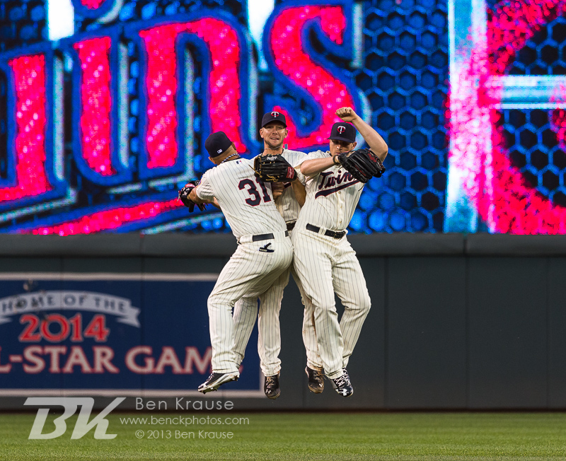 Clete Thomas #11, Oswaldo Arcia #31, and Chris Parmelee #27 of the Minnesota Twins celebrate after the Twins defeated the Detroit Tigers on June 15, 2013 at Target Field in Minneapolis, Minnesota.  The Twins defeated the Tigers 6 to 3.  Photo: Ben Krause