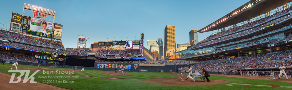 [Note:  This panorama was created by merging multiple exposures during post-processing.] A panoramic view from the inside 3rd photo position at Target Field during a game between the Minnesota Twins and Kansas City Royals on July 31, 2013 in Minneapolis, Minnesota.  The Royals defeated the Twins 4 to 3.  Photo by Ben Krause