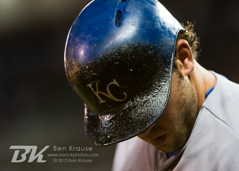 A close up view of the helmet of Mike Moustakas #8 of the Kansas City Royals as he warms up on deck during a game against the Minnesota Twins on July 31, 2013 at Target Field in Minneapolis, Minnesota.  The Royals defeated the Twins 4 to 3.  Photo by Ben Krause