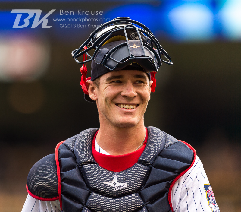 Chris Herrmann #12 of the Minnesota Twins smiles before a game against the Toronto Blue Jays on September 8, 2013 at Target Field in Minneapolis, Minnesota.  The Blue Jays defeated the Twins 2 to 0.  Photo by Ben Krause
