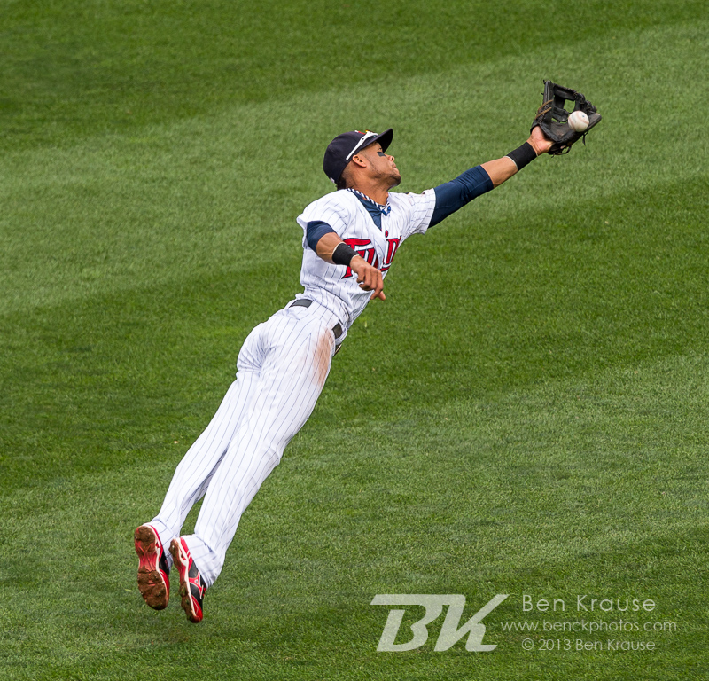 Pedro Florimon #25 of the Minnesota Twins can't make a leaping catch against the Toronto Blue Jays on September 8, 2013 at Target Field in Minneapolis, Minnesota.  The Blue Jays defeated the Twins 2 to 0.  Photo by Ben Krause