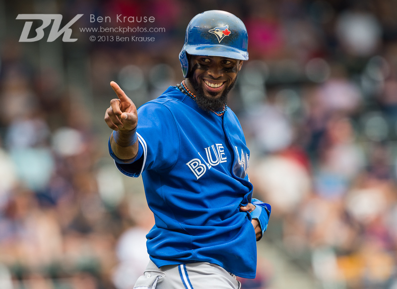 Jose Reyes #7 of the Toronto Blue Jays smiles to his teammates after stealing 3rd base against the Minnesota Twins on September 8, 2013 at Target Field in Minneapolis, Minnesota.  The Blue Jays defeated the Twins 2 to 0.  Photo by Ben Krause