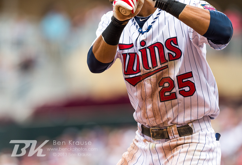 A close up view of the dirty uniform of Pedro Florimon #25 of the Minnesota Twins during a game against the Toronto Blue Jays on September 8, 2013 at Target Field in Minneapolis, Minnesota.  The Blue Jays defeated the Twins 2 to 0.  Photo by Ben Krause
