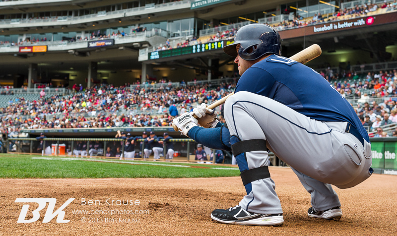 Evan Longoria #3 of the Tampa Bay Rays waits on deck during a game against the Minnesota Twins on September 15, 2013 at Target Field in Minneapolis, Minnesota.  The Twins defeated the Rays 6 to 4.  Photo by Ben Krause