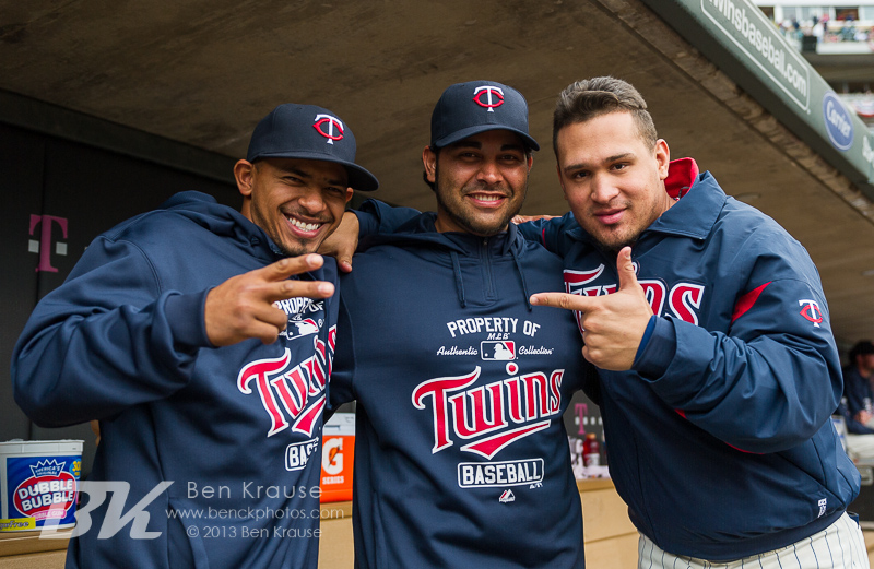 Minnesota Twins Eduardo Escobar, Pedro Hernandez, and Oswaldo Arcia pose for a photo before a game against the Cleveland Indians on September 28, 2013 at Target Field in Minneapolis, Minnesota.  The Indians defeated the Twins 5 to 1.  Photo by Ben Krause