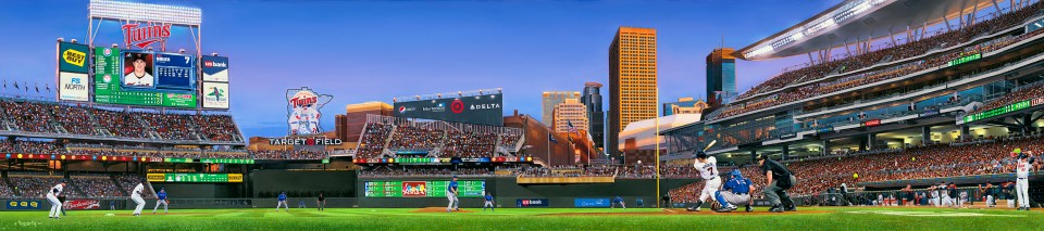 "An image of a painting by local artist Terrence Fogarty called ""Twins Territory"" that the Twins commissioned after the opening of Target Field in 2010."