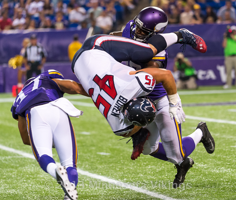 Minnesota Vikings vs. Houston Texans on August 9, 2013 at Mall of America Field in Minneapolis, Minnesota.  Photo by Ben Krause/Minnesota Vikings