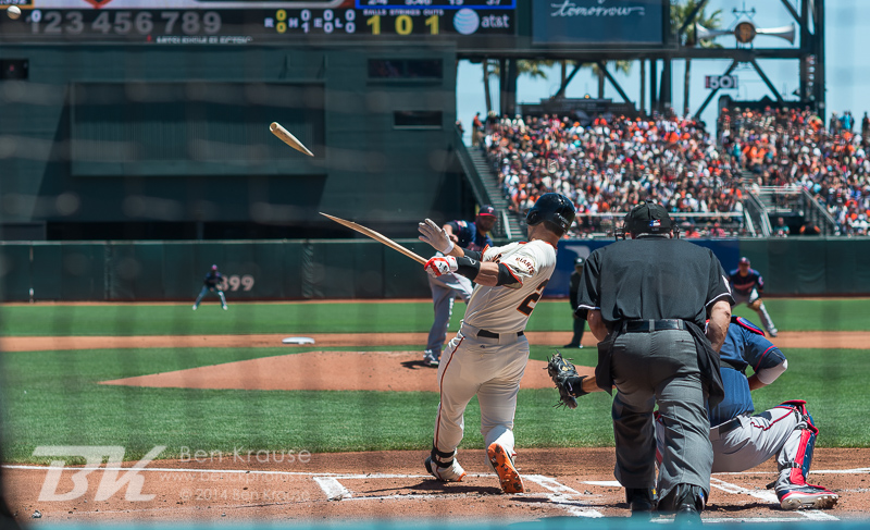 Buster Posey of the San Francisco Giants breaks his bat against the Minnesota Twins at AT&T Park in San Francisco, California on May 25, 2014.  Photo by Ben Krause