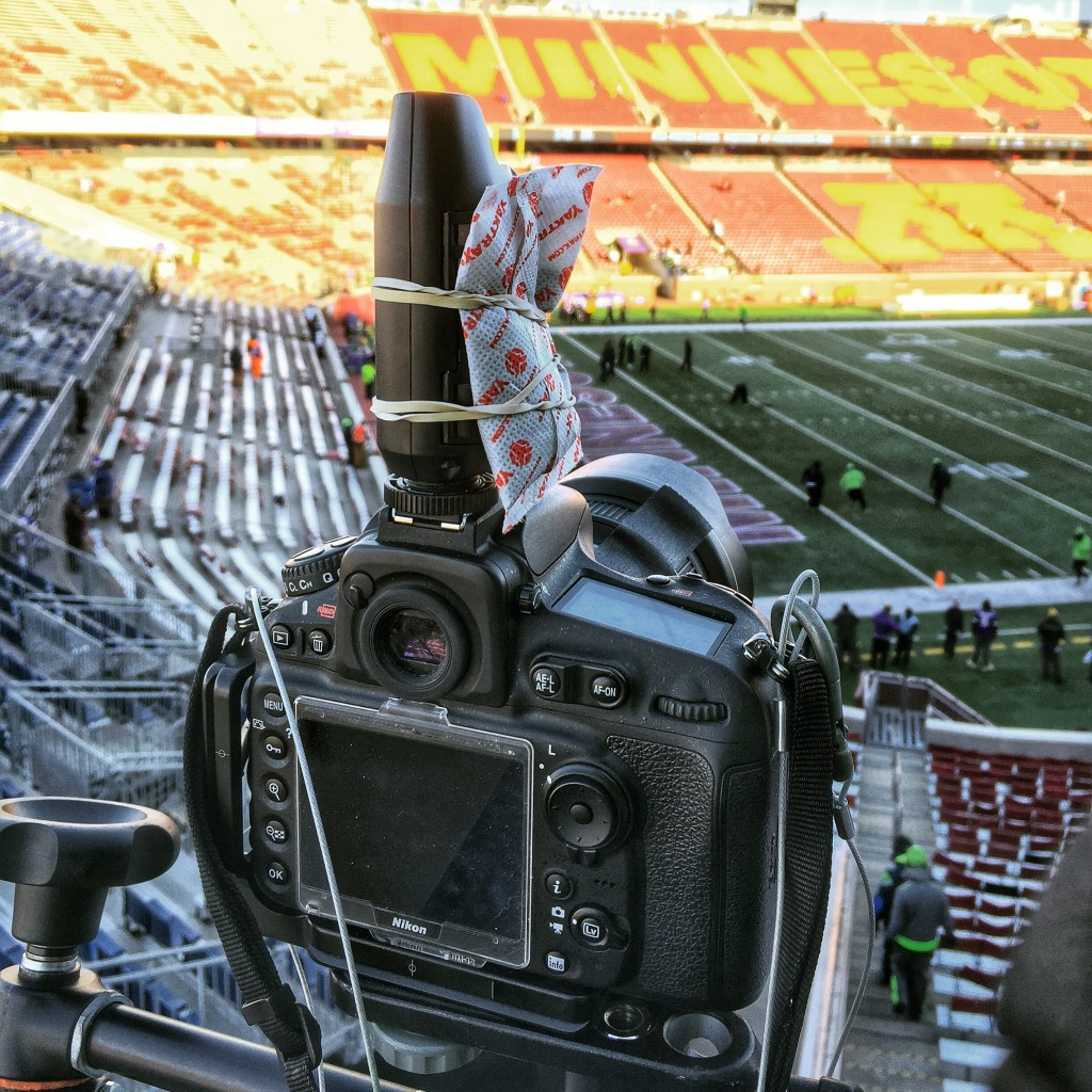An iPhone photo of my remote camera setup at the Wild Card Playoff game between the Minnesota Vikings and Seattle Seahawks on January 10, 2016 at TCF Bank Stadium in Minneapolis, Minnesota.  Photo by Ben Krause/Minnesota Vikings
